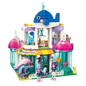 Image 2 - Qman 2012 Blue Whale Aquarium Set Friends Series with Mini figures Educational Building Blocks Toys For Girls DIY Gifts 487PCS