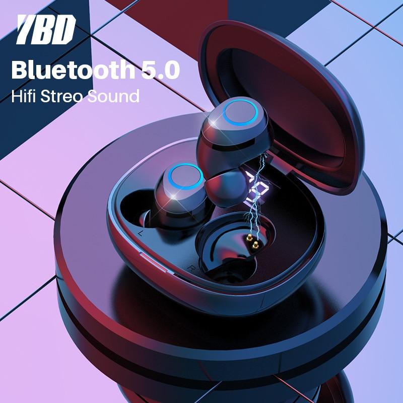 YBD Digital Display TWS 5.0 Bluetooth headphone 3D stereo wireless earphone with Touch Control Handfree Headset