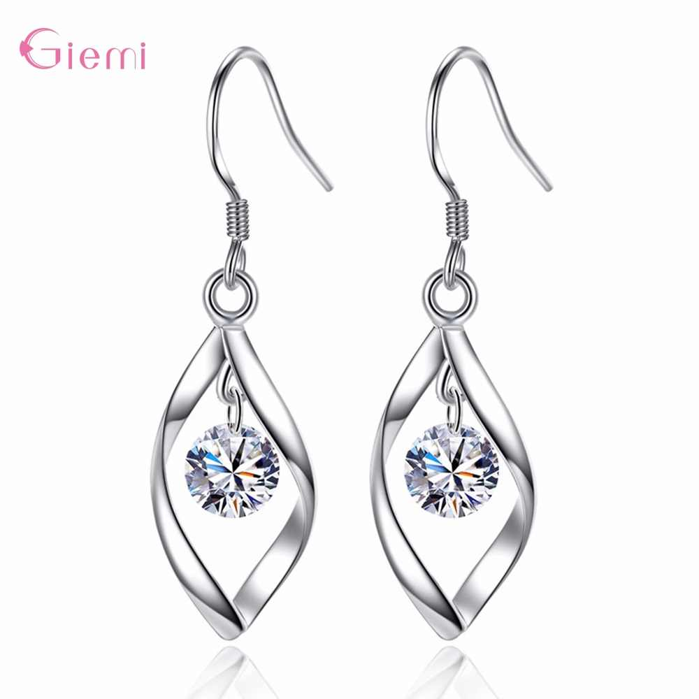 New Arrival 925 Sterling Silver Dangle Earrings For Women Girls Party Engagement Trendy Romantic Style CZ Crystal