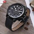 Мини фокус мужские часы кварцевые Военные аналоговые часы мужские модные кожаные ремешок водонепроницаемые спортивные наручные часы хрон...