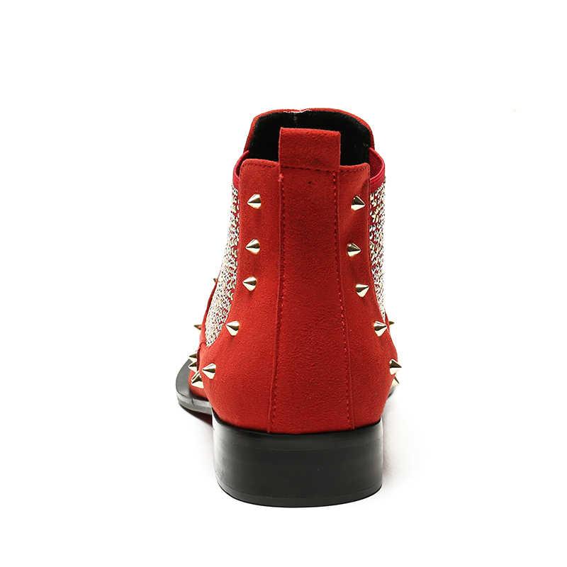 Niet Warme Schuhe 2020 Neue Designer Stil Metall Trend Kühlen Chelsea Stiefel Mens Echtes Leder Slip Auf Männlichen Schuhe Große größe 46
