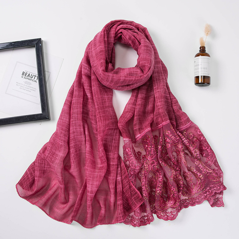2019 Muslim Women Glitter Lace Hijab Scarf Islamic Soft Headscarf India Wrap Head Scarves Hijab Femme Musulman Turbantes