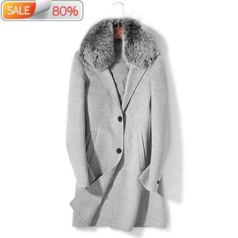 100% Wool Autumn Winter Jacket Men Duck Down Liner Long Coats Woolen Coat Plus Size Chaquetas P-SA605C ND1265