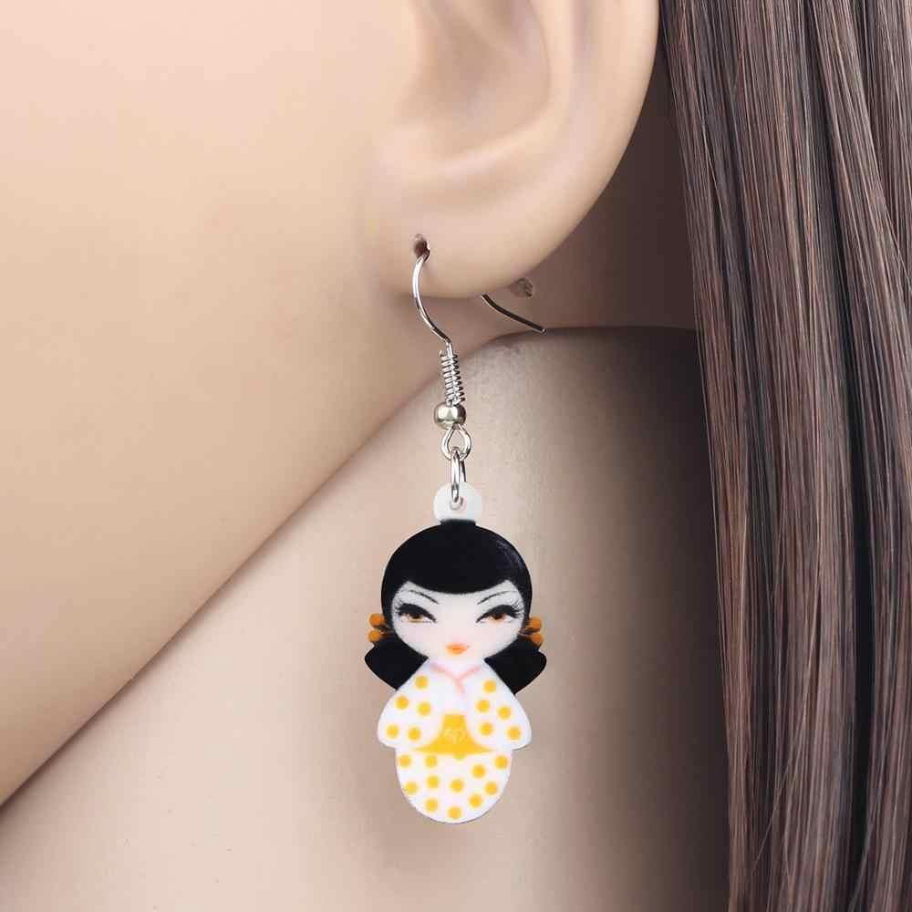 Bonsny Acrilico Giapponese Spot Kimono Bambola Della Ragazza Orecchini di Goccia Ciondola I Monili per Le Donne Ragazze Adolescenti Bambini Del Regalo di Fascino Accessorio All'ingrosso