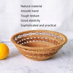 Image 4 - בעבודת יד טבעי במבוק אריגת נצרים סל סט עגול חלול Creative אחסון מיכל פירות מזון לחם גדול מטבח