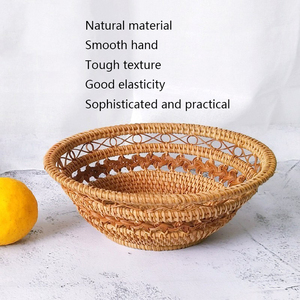 Image 4 - Handmade Natural Bamboo Weaving Wicker Basket Set Round Hollow Creative Storage Container For Fruit Food Bread Large Kitchenware