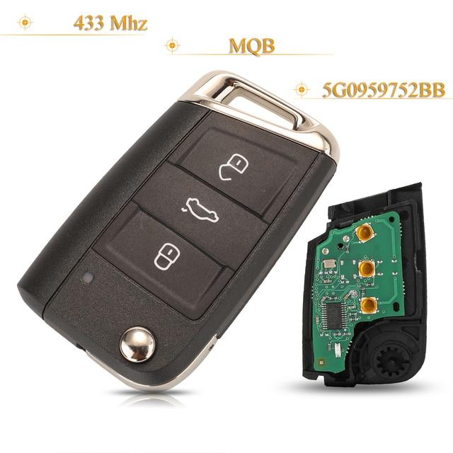 Kutery 3 Buttons Smart Remote Car Key No Keyless GO Fob 433Mhz MQB 5G0959752BB For VW Seat Golf7 MK7 Touran Polo Tiguan