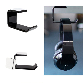 Sticker Acrylic Headphone Bracket Wall Mounted Headset Holder Hanger Under Desk Hook Earphone Sticky Display Stand image