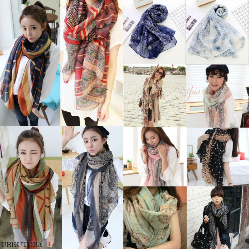 Fashion Autumn Femme Silk Scarves Silk Scarf Women Floral Stripe Print Scarf Long Soft Wrap Ladies Wrap Shawl Stole Scarves Hot