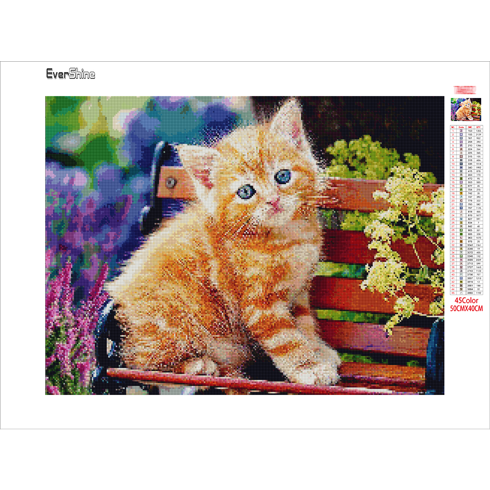 EverShine 5D Diamond Painting Full Drill Animal Diamond Embroidery Cat DIY Needlework Beaded Cross Stitch Handmade Gift-2
