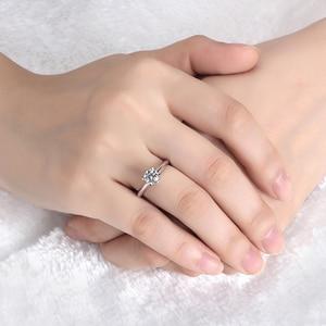Image 5 - Starsgem תכשיט אופנה 18K זהב מצופה 925 כסף 6 טפרי 0.5/1ct F moissanite טבעת המחיר הטוב ביותר moissanite טבעת לנשים