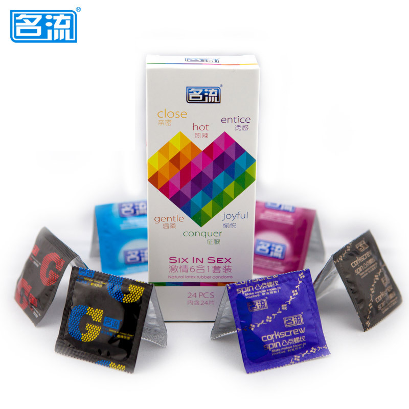 Condoms 24 Pcs 6 Type Ultra Thin Ice and Fire Dotted <font><b>Natural</b></font> Latex Double Lubricated Condoms Sex Toys for Men Safe contraception image