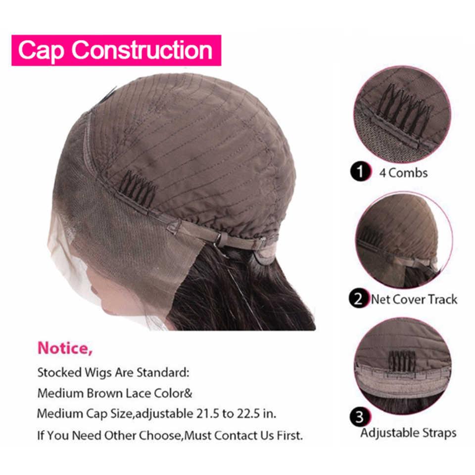 Luduna dantel ön İnsan saç peruk Remy saç brezilyalı su dalgası peruk siyah kadın bebek saç ön koparıp 13*4 dantel peruk
