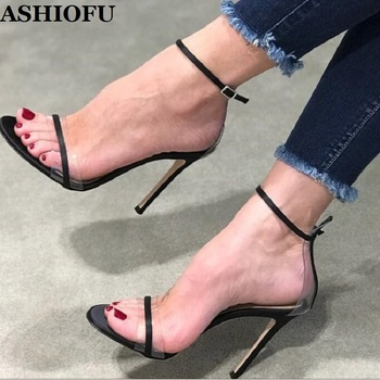ASHIOFU Handmade Ladies High Heel Sandals PVC Leather Party Summer Shoes Simple Daily Wear Evening Fashion Stiletto Sandals