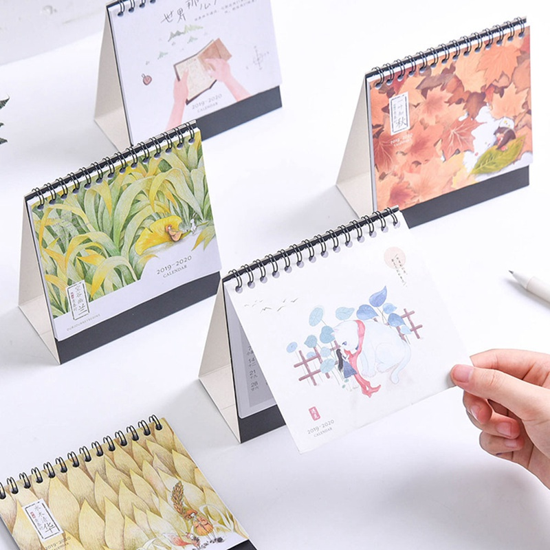Hand Drawing 2020 Fresh Cartoon Mini Cute Desktop Paper Calendar Dual Daily Scheduler Table Planner Yearly Agenda Organizer