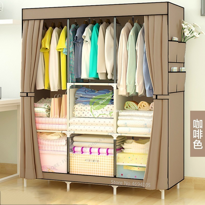 38%Fashion Thick Non-woven Fabric Closet Wardrobe Storage Cabinet Assembly Simple And Easy Cloth Fabric Solid Modern