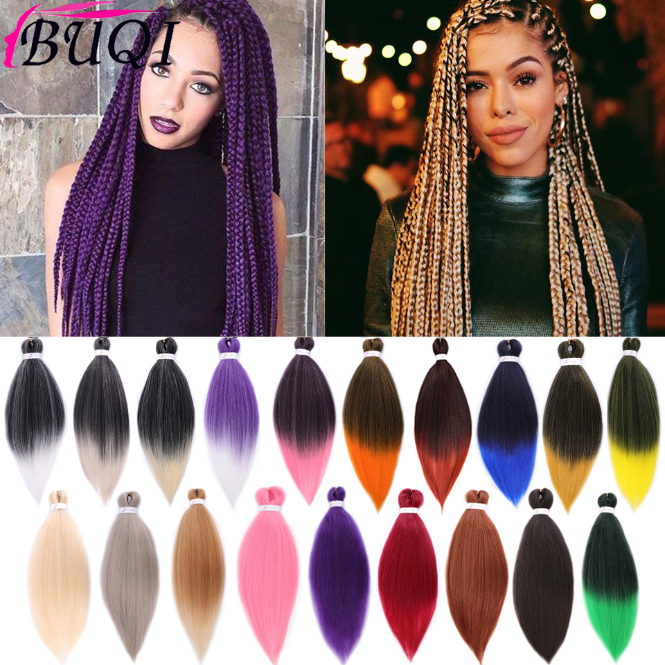 BUQI 2020 Jumbo Crochet Braids Synthetic Hair Braiding Hair Style Extension For Women Ombre Grey Pink Red Blue Green