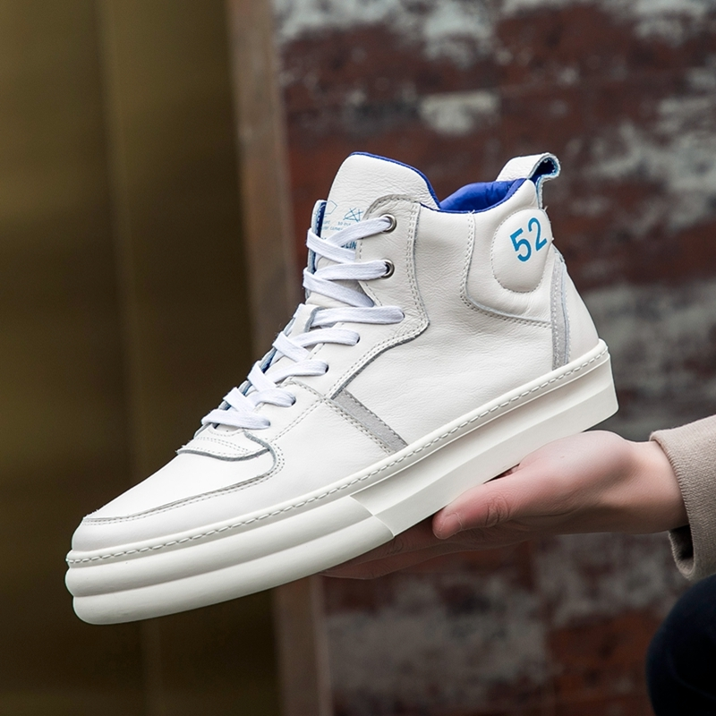 High-Top Casual Men Shoes Genuine Leather Military Sneakers Luxury Platform Trainers Top Quality Lace Up Hip Hop White Shoes