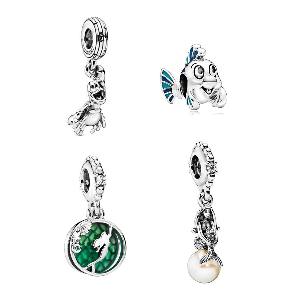 2019 New Original 925 Sterling Silver Bead Mermaid Flounder Charm Fit Pandora Bracelet Bangle DIY Women Jewelry