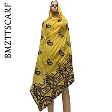 ใหม่มาถึงผู้หญิงแอฟริกันผ้าพันคอผ้าฝ้ายนุ่มเย็บปักถักร้อยผ้าพันคอสำหรับผ้าคลุมไหล่เกี่ยวกับการขาย BM778