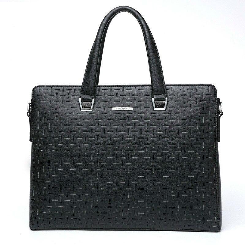 Fashion Men's Briefcase Black Leather Briefcases Handbag Men Luxury Handbags Mens Computer Laptop Office Business Bag Man Bags