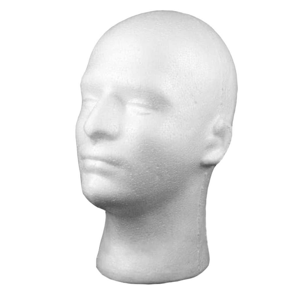 Mannelijke Schuim Mannequin Hoofd Model Hoed Pruik Show Display Stand Rack Holder Wit