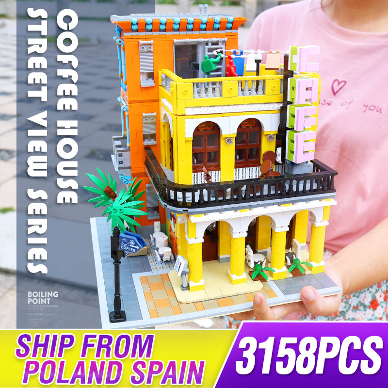 10182 Creative City commercial street view Cafe Havana Shining shop House model Building Block bricks Kits Brick ToyS image