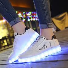 купить Print Non Slip Round Toe Shoes Men LED Shallow White Casual Korean Version Espadrilles Travel Luminous Chaussure по цене 1515.6 рублей