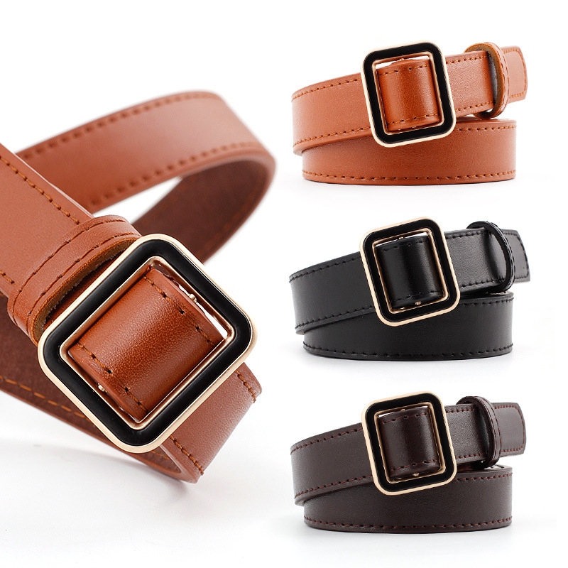 Newest Needle-free Square Pin Buckle   Belt   Female Luxury Faux Leather Thin   Belts   For Jeans Dress Classic Waistband ceinture homme