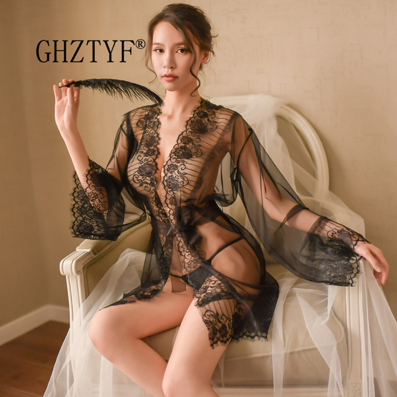 Nighty <font><b>Sexy</b></font> Erotic Underwear Dresses <font><b>Costume</b></font> for Sex Couple Bielizna Damska Women's Lace Babydoll Uniform Temptation <font><b>Lingerie</b></font> image