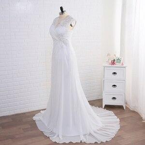 Image 3 - Jiayigong สต็อกชุดแต่งงาน PLUS ขนาดหมวก Applique ผู้หญิงชายหาดชุดเจ้าสาวชีฟอง Vestido De Noiva ชุดเจ้าสาว