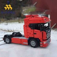 MOC-6086 miasto samochód transportowy NextGen SCANIAS ciężarówka techniczne klocki ciężarówki Racer zdalnie sterowane cegły pojazdu zabawki dla dzieci