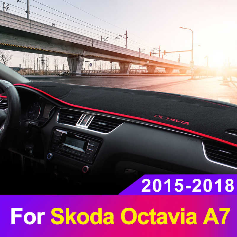 Car Dashboard Avoid Light Pad Instrument Platform Cover Mat Carpets For Skoda Octavia A7 2015 2016 2017 2018 2019 Accessories