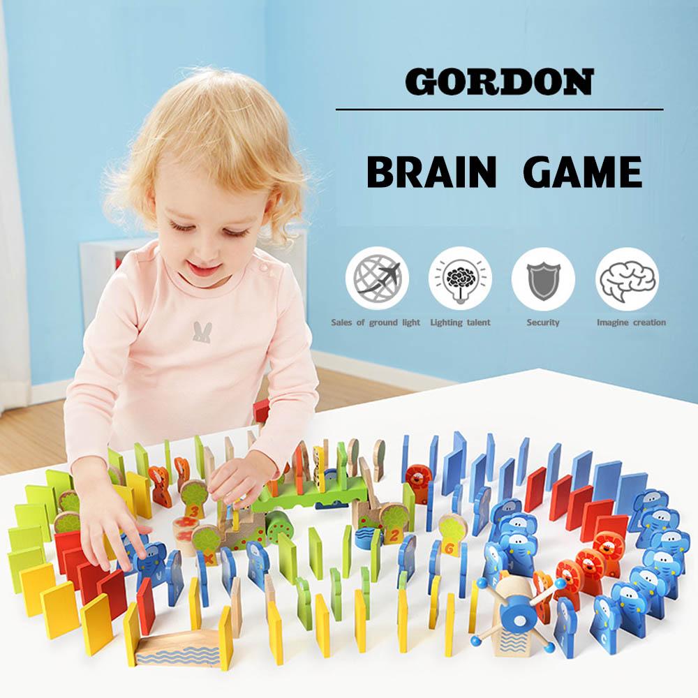 150 pcs Early Childhood Educational Wooden toys elephant alphabet digital creative domino building blocks goft