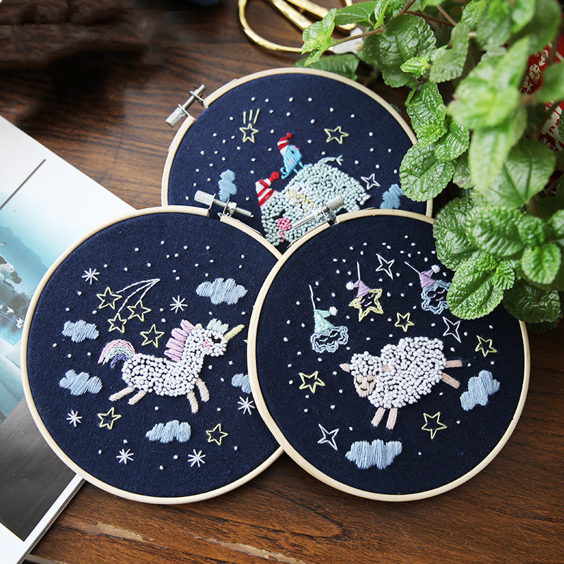 1pc Blue Cartoon Pattern DIY Ribbons Embroidery Toys For Beginner Needlework Practice Kits Cross Stitch Birthday Gift Home Decor