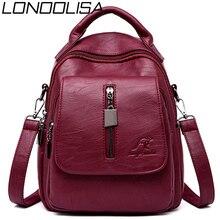 3 in 1 Soft Leather Women Backpack Casual Solid School Bags for Teenage Girls Travel Backpack Ladies Bagpack mochila feminina