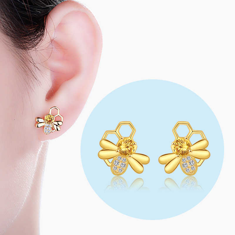 Strollgirl 925 Sterling Silver Hollow earrings Cute animal Bee Stud Earrings with CZ for Women Fashion Jewelry Free shipping
