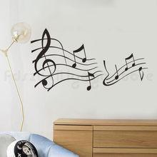 Winyl muzyka naklejki ścienne pokój dzienny sypialnia nuty dekoracyjne przedpokój czarny Vinyl Wall Art naklejka wystrój domu H610