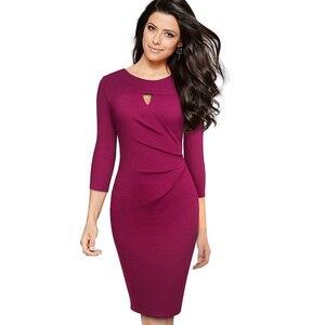 Image 3 - 素敵な永遠のヴィンテージエレガントな純粋な色オフィスレディース vestidos ビジネスパーティーボディコン秋女性ペンシルドレス B555