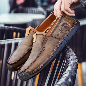 Image 4 - Büyük boy erkek rahat deri düz ayakkabı eski pekin stil mokasen sonbahar kış yüksek kaliteli Moccasins yumuşak taban Zapatos 39 48