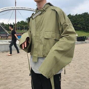 EWQ / men's wear spring coat oversize bat sleeve big pocket loose short style loose jacket for male solid color fashion 9Y1971