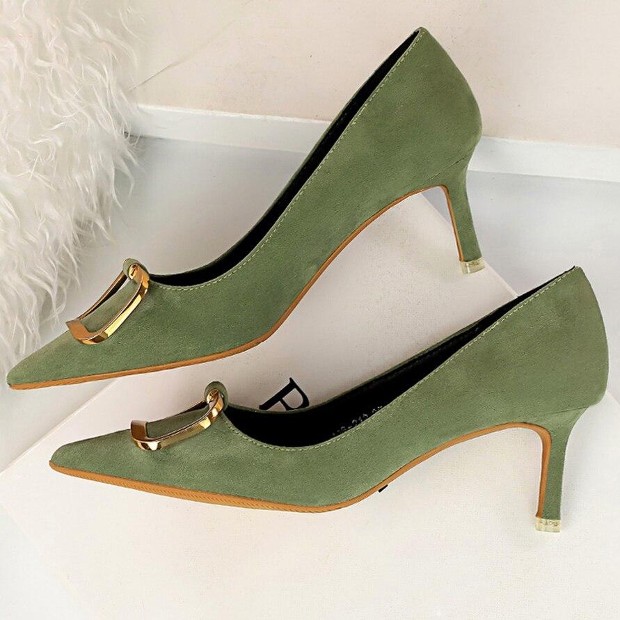 2020 Women 6.5cm High Heels Escarpins Suede Purples Pumps Lady Scarpins Fashion Kitten Low Heels Sexy Green Yellow Office Shoes