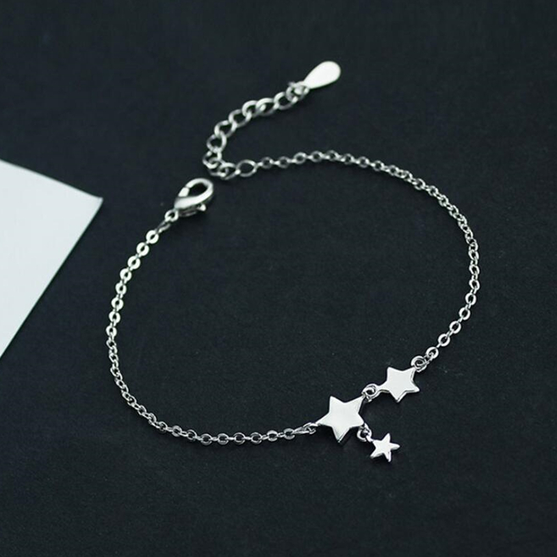 New Fashion Three Stars Pendant Anklets Bracelet 925 Sterling Silver Simple Charm Star Ankle Chain For Women&Girl Jewelry Gift