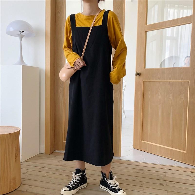 Autumn Women Korean Cute Black Straps Dress Preppy Style Japanese Preppy Tank Loose Dress Casual Harajuku Female Midi Dress