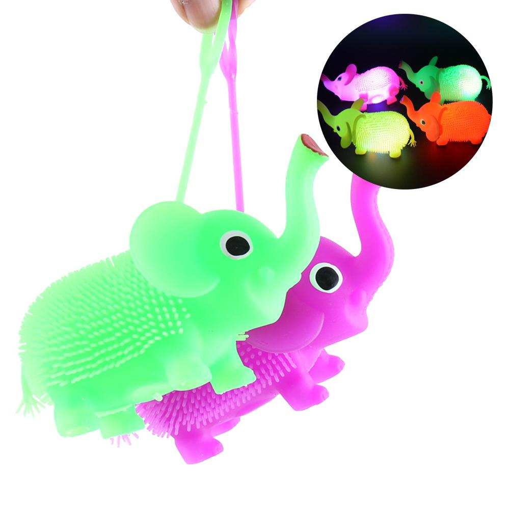 LED Glowing Hair Puffer Elephant Sensory Fidget Squeeze Stress Vent Kids Toy Gift For Children New Exotic Fun Decompression