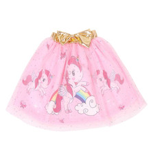 3-8Y Fashion Girls Tutu Skirt Kids Princess unicorn print· Ball Gown mesh skirt for girls Children Clothing D015(China)