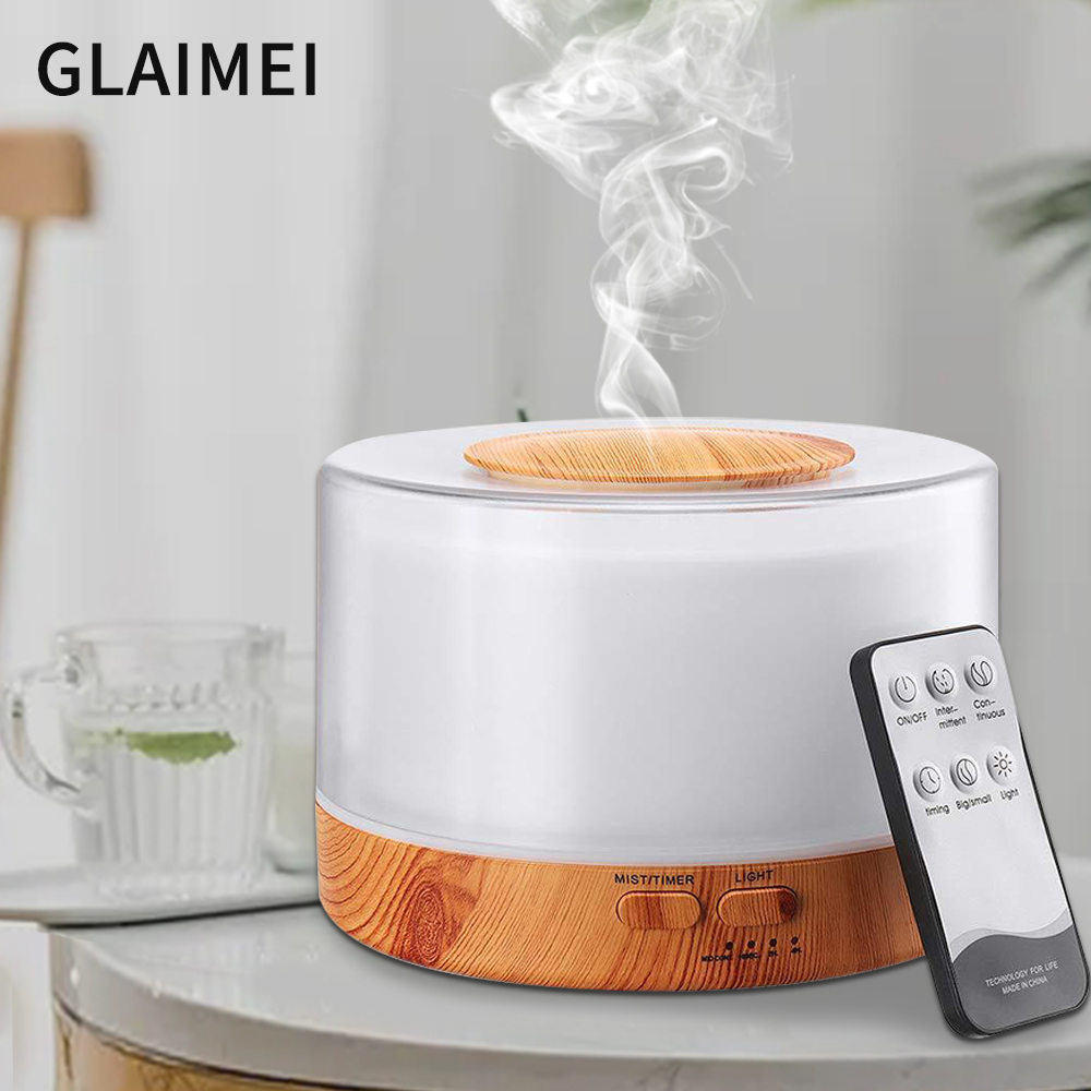 Aromatherapy Diffuser Humidifier Air Dampener Aroma 500ML Diffuser Machine Essential Oil Ultrasonic Mist LED Light Maker Quiet