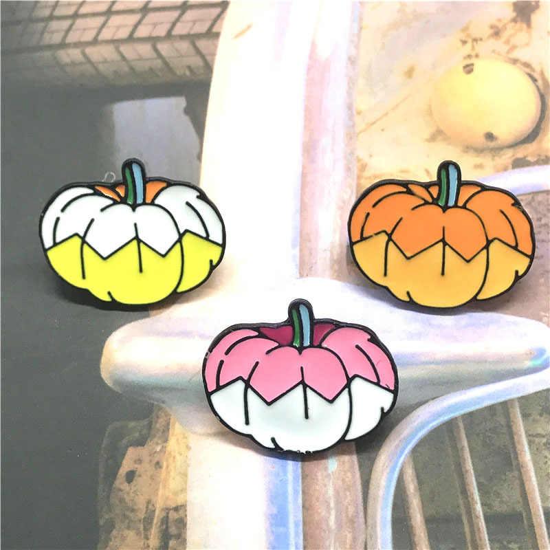 Cartoon kolorowe dyni broszka dla kobiet kreatywny Denim kurtki torba zabawa odznaka prezenty na halloween emalia Pin dziewczyny biżuteria broszki