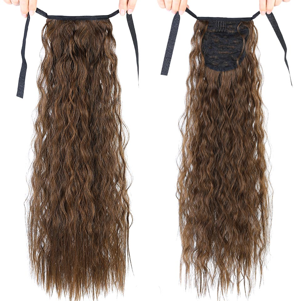22'' Kinky Curly Ponytail Clip In Hair Extension For Women Synthetic Hairpiece Drawstring Ponytail Pageup