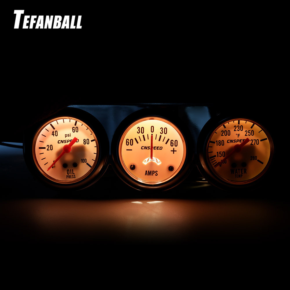 """2""""52mm Triple Table AMP Kit Universal Hydraulic Water Temperature Current Meter Three In One Car Instrument Modification